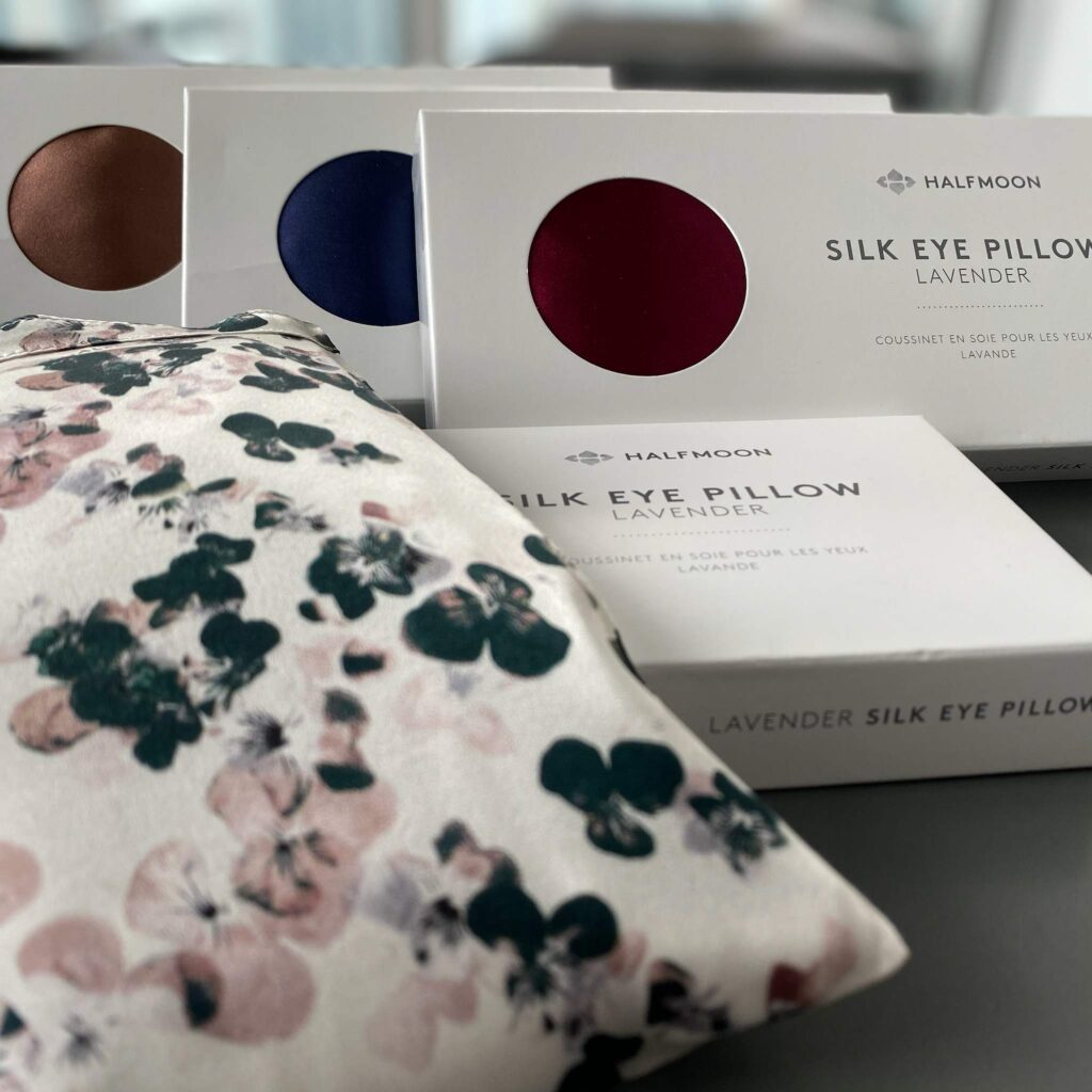 Halfmoon Silk Eye Pillow with Lavender and Organic Flax Seed for Self care